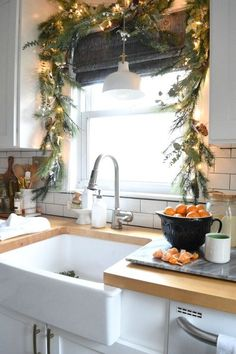 Looking for beautiful Christmas decor inspiration? Christmas in our Small Kitchen- Nesting With Grace #christmasdecor #christmasdecorations #homedecorideas #holidaydecor #christmasseason #christmasstyle