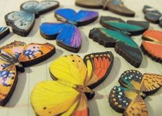 Mini Wooden Butterflies on Etsy, $9.88   Is this where all the blue butterflies come from?