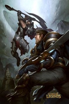 Darius vs Garen Battle Art  League of Legends courtesy of Riot Games  2012  Illustration: Alvin Lee  Digital Colors: Tobias Kwan