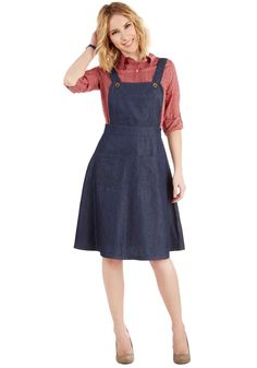 Bea and Dot Jumper at the Chance. Relive those carefree days on the playground in this overall jumper from Bea Dot, found exclusively at ModCloth! Jumper Outfit, Denim Jumper Dress, Sweater, Modest Fashion, Skirt Fashion, Fashion Dresses, Curvy Fashion, Spring Fashion, Denim Pullover