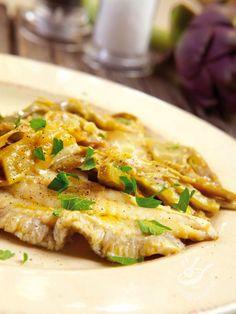 Filetti prelibati di rombo ai carciofi - Antipasti / Impasti Pesce in padella e zuppe