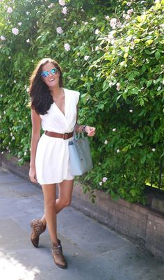 White dress with ankle boots. Love the Londoner style!!