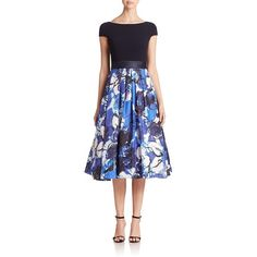 Theia Crepe & Silk Belted Dress (€240) ❤ liked on Polyvore featuring dresses, apparel & accessories, crepe dress, flared skirt, belted dress, circle skirt and flared dress