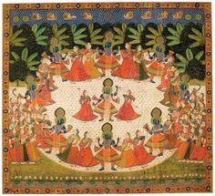 La danse de Krishna et des vachères (Krishna Rasa Lila), tenture de temple (pichvai) sur toile de coton, Inde, Rajasthan, fin du 19ème siècle, 247x271cm, 70.2016.10.1