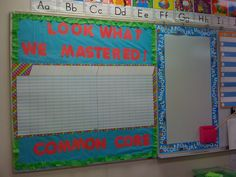 This teacher has created a bulletin board display featuring her large incentive chart where she records her students' names and gives them a sticker for each skill area they have mastered.