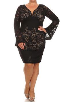 Plus Size Lace Darling Bell Sleeves Black Dress – PLUSSIZEFIX