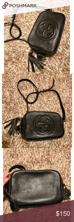 Black Authentic leather Gucci purse Beautiful bag !!! $1,200 online. Pre-owned condition, the inside has a couple lipstick stains and is a little dirty but can be easily cleaned up, one small scratch on the outside corner next to the GG logo, ZIPPER is broken! Fixed it once already easy fix, I just packed it full so it came off the track again, easy fix though ! Loved this purse ! Goes with everything ! Gucci Bags Shoulder Bags