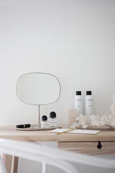 'Flip' mirror by Normann Copenhagen Modern Scandinavian Interior, Lighted Wall Mirror, Natural Interior, Interior Stylist, Home And Deco, Interiores Design, Home And Living, Interior Inspiration, Interior And Exterior