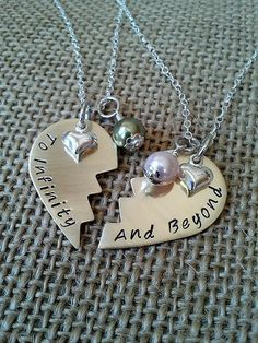 To Infinity and Beyond,Broken Heart Best Friends, or Mother, Daughter Necklace with Swarvoski Pearls and Silver Heart Charm. $45.00, via Etsy.