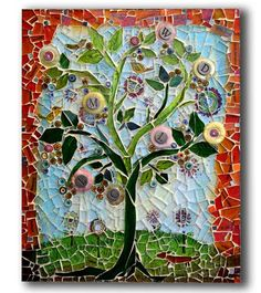 """""""Tree Of Life Mosaic""""  8x10 / © rebecca collins      I have kind of always wanted to do a tree in mosaic. Every time I think about doin..."""