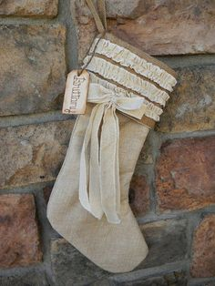 Burlap & Linen Christmas Stocking Personalized by justforkeeps