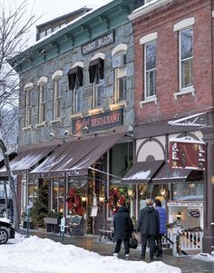Stores and restaurants cheerfully display the spirit of the season throughout the idyllic town of Woodstock, VT, making it an ideal winter destination.