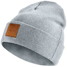 Nike Air Beanie ($15) ❤ liked on Polyvore featuring men's fashion, men's accessories, men's hats, wolf grey and mens beanie hats