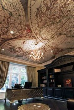 Luxury Office Design Ideas For a Remarkable Interior Anvil Magazine Home Office Design, Home Office Decor, House Design, Home Decor, Interior Ceiling Design, Modern Interior Design, Bureau Design, Library Lighting, Steampunk Interior