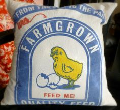 Another darling pillow by Larksong Creations on Etsy. Vintage grainsack reproduction print. The back is as cute as the front. Love!!!
