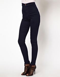 dark wash high waisted jeans    ASOS Uber High Waist Denim Tube Pants in Indigo -50.63