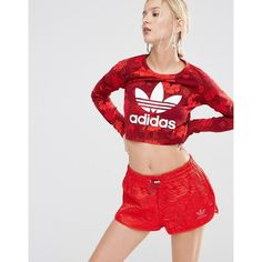 adidas Originals Floral Cropped Top With Trefoil Logo (320 NOK) ❤ liked on Polyvore featuring tops, red, red top, red floral top, floral print tops, crop top and cotton crop top