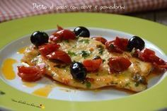 Petto di pollo con olive e pomodorini – Recetas Meat Recipes, Chicken Recipes, Cooking Recipes, Healthy Recipes, Italian Dishes, Italian Recipes, Pollo Light, Italian Sausage Lasagna, Pollo Chicken