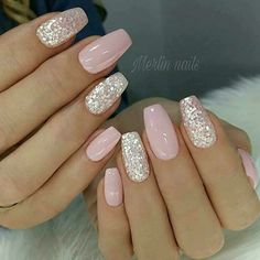 nail art designs with glitter ~ nail art designs ; nail art designs for spring ; nail art designs for winter ; nail art designs with glitter ; nail art designs with rhinestones Pretty Nail Designs, Simple Nail Designs, Gel Nail Designs, Light Pink Nail Designs, Glitter Nail Designs, Popular Nail Designs, Silver Nail Designs, Pink Gel Nails, Gel Nails With Glitter