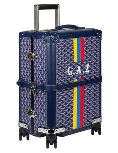 Goyard Bourget PM trolley in navy-blue canvas and leather Goyard Luggage, Goyard Handbags, Goyard Bag, Leather Luggage, Satchel Handbags, Luggage Bags, Goyard Trunk, Luxury Luggage, Luxury Bags
