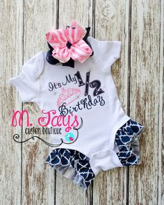 Adorable custom half birthday outfit with ruffles great for 6 month birthday decorations