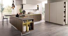 Die gelben Elemente erfrischen das einfache Küchendesign