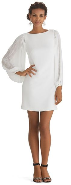 $150, White Chiffon Shift Dress: White House Black Market Chiffon Sleeve White Shift Dress. Sold by White House Black Market. Click for more info: https://lookastic.com/women/shop_items/110538/redirect