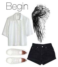 """BTS Wings: Begin"" by kookiechu ❤ liked on Polyvore featuring Madewell and H&M"