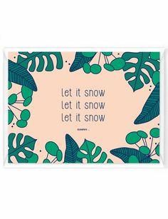 """Kerstkaart """"Let it snow - elsewhere"""" ! Te koop op yellowsky.shop #kerst #kerstkaart #humor #botanical #groen #roze #humor"""