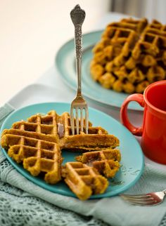 Orange-Spice Gluten-Free Vegan Pumpkin Waffles. Freezer-Friendly.