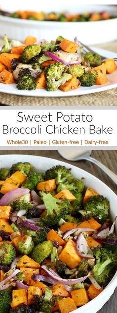 Sweet Potato Broccoli Chicken Bake: A delicious one-dish meal that you and your family will enjoy!   Whole30   Paleo   Gluten-free   therealfoodrds.com