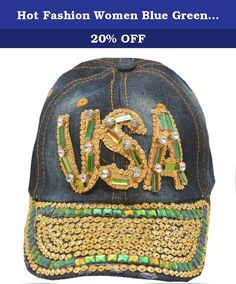 Hot Fashion Women Blue Green Denim Gem Studded USA Applique Sun Hat Cap. Express your patriotism with this denim cap sun hat from Hot Fashion. The cap features USA applique with green gems and glitter rhinestones and studded brim. Shimmery accents add a feminine touch to this sporty piece.