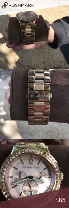 Michael Kors rose gold watch Missing 1 rhinestone as shown in pic. Priced accordingly. Needs a battery. Extra link is included as it was sized. Substantial piece. Michael Kors Accessories Watches