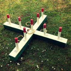 Similar to our smaller quoits game but measuring 1 meter across and with a few more scoring pegs. This was custom made for us and costs £15 to hire.