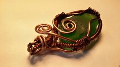 Green natural sea glass necklace pendant; Wire Wrapped pendant; Seaglass pendant necklace; Copper Wire by FoxJewelleryShop on Etsy