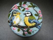 Handmade needle felted brooch/Gift 'Fledglings First Outing ' by Tracey Dunn
