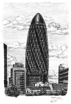 Stephen Wiltshire - The Gherkin Bldng, London