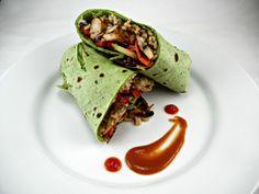 Asian burritos at home! Asian Chicken Burritos with Sriracha Peanut Butter Sauce. Recipe @ The Tasty Fork #east #chicken #recipe #asianburrito