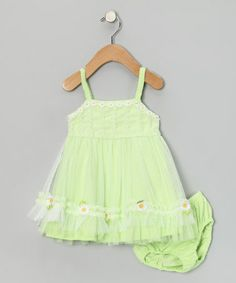 Take a look at this Green Daisy Dress & Diaper Cover - Infant by Nannette Baby on #zulily today!