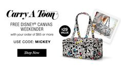Get this free Disney Canvas Weekender bag with any purchase of  $65 or more.  Use code MICKEY