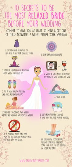 Organizing a wedding is not easy, you have so many things going on in your mind… so here are some tips for not becoming into a bridezilla. #weddings #brides #relaxedbride