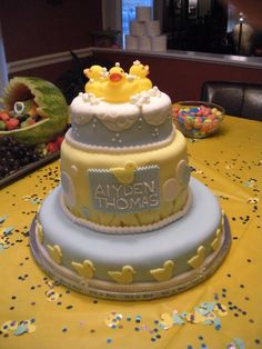 Three tiered Fondant Baby Shower Duck Cake with Banana buttercream frosting
