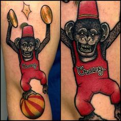 circus crazy monkey tattoo