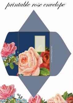 FREE printable DIY vintage rose envelope ^^