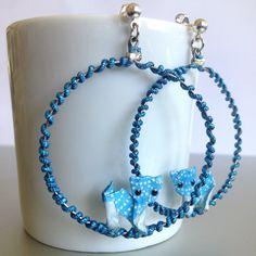 Boucles d'oreilles Anneaux / Chat Origami / bleu claire de la boutique KamiArtJp sur Etsy