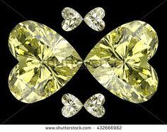 Heart diamond butterfly. 3D illustration. 3D CG. High resolution. Format 4:3