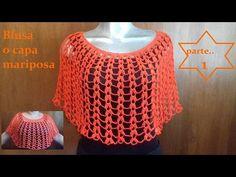 Blusa o capa petalos circular manga mariposa en crochet (parte 1) - YouTube