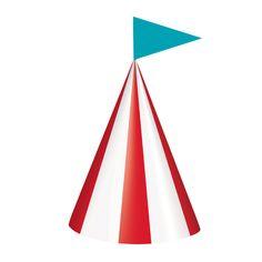 Feestelijke hoedjes met rood en witte strepen en blauw vlaggetje. Deze feesthoedjes passen goed bij een circus of carnival (kermis) feestje. Circus Carnival Party, Products, Decor, Decoration, Decorating, Gadget, Deco
