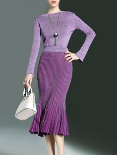 Shop Midi Dresses - Gray Mermaid Crew Neck Wool Blend Long Sleeve Midi Dress online. Discover unique designers fashion at StyleWe.com.