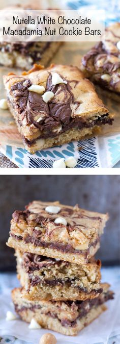 These gooey Nutella bars are the life of the party. With all of the white chocolate chips, macadamia nuts, and swirls of Nutella Biscuit Nutella, Nutella Bar, Nutella Cookies, Tasty Cookies, Baking Cookies, Bar Cookies, Nut Recipes, Nutella Recipes, Best Dessert Recipes